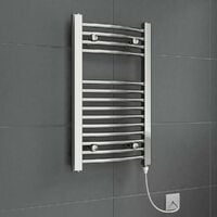DuraTherm Electric Curved Chrome Towel Rail 700 x 400mm - 150W