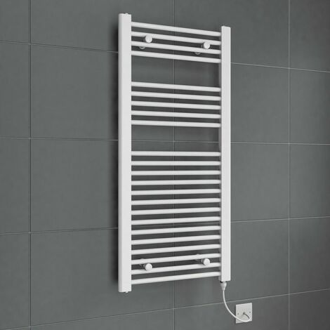 DuraTherm Electric Flat White Towel Rail 1100 x 500mm - 250W