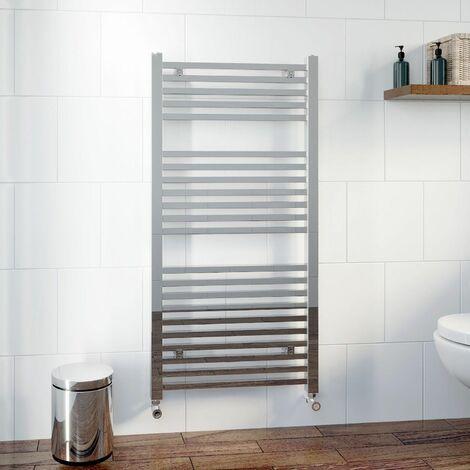 DuraTherm Heated Square Bar Towel Rail Chrome - 1200 x 600mm