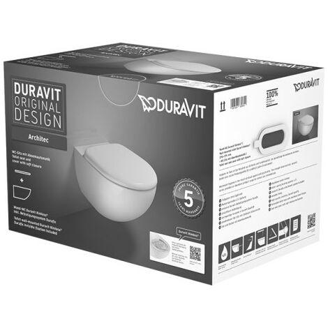 Duravit Architec WC mural Rimless Set 457209, rondelle et siège WC inclus - 45720900A1