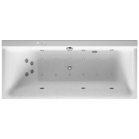 Duravit Baignoire balnéo P3 Comforts 1600 x 700 mm, rectangulaire, version encastrée, un dossier incliné à gauche, cadre, vidage et trop-plein, Combi-System P - 760371000CP1000