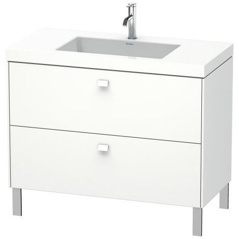 Duravit Brioso Furniture wash basin c-bonded with base standing 100,0x48,0 cm, 2 drawers, without overflow, with tap hole bench, without tap hole, Colour (front/body): White high gloss decor, chrome handle - BR4702N1022