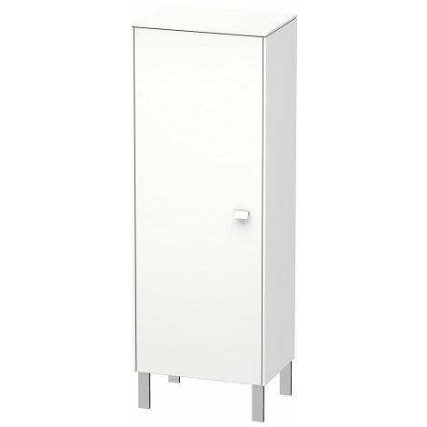 Duravit Brioso Individual semi-high cupboard, 1 door, hinged left, 1 wooden shelf, 2 glass shelves, height min. 91.1 cm - max. 133.0 cm, width min. 27.0 cm - max. 52.0 cm, depth min. 19.6 cm - max. 35.9 cm, Colour (front/body): White high gloss decor, chr