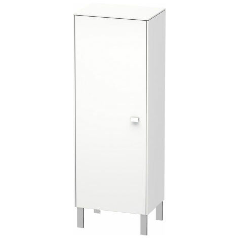 Duravit Brioso Individual semi-high cupboard, 1 door, hinged left, 1 wooden shelf, 2 glass shelves, height min. 91.1 cm - max. 133.0 cm, width min. 27.0 cm - max. 52.0 cm, depth min. 19.6 cm - max. 35.9 cm, Colour (front/body): White Matt Decor, Handle Wh
