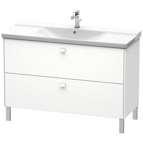 Duravit Brioso Meuble sous-lavabo sur pied 122,0 x 47,9 cm, 2 tiroirs, pour lavabo P3 Comforts 233212, Couleur (avant/corps): Gris béton Décor mat, manche chromé - BR441301007