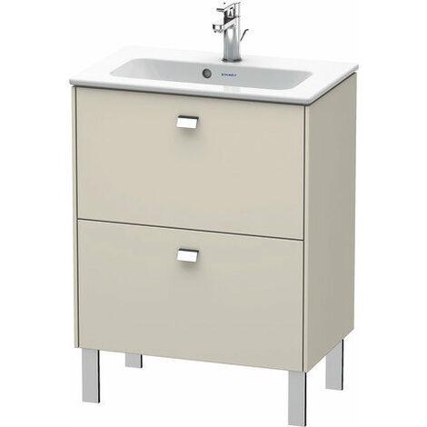 Duravit Brioso Meuble sous-lavabo sur pied Compact 62,0 x 38,9 cm, 2 tiroirs, avec découpe pour siphon et tablier, pour lavabo ME by Starck 234263, Couleur (avant/corps): Décor lin, poignée chromée - BR440601075