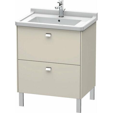 Duravit Brioso Meuble sous-lavabo sur pied Compact 67,0 x 46,9 cm, 2 tiroirs, avec découpe pour siphon et tablier, pour lavabo Starck 3 030470, Couleur (avant/corps): Décor lin, poignée chromée - BR442101075