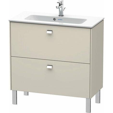 Duravit Brioso Meuble sous-lavabo sur pied Compact 82,0 x 38,9 cm, 2 tiroirs, avec découpe pour siphon et tablier, pour lavabo ME by Starck 234283, Couleur (avant/corps): Décor lin, poignée chromée - BR440701075