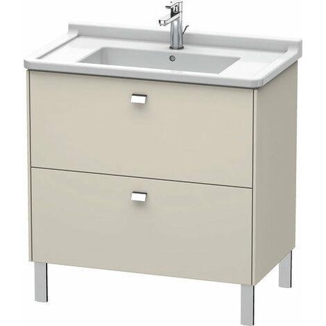 Duravit Brioso Meuble sous-lavabo sur pied Compact 82,0 x 46,9 cm, 2 tiroirs, avec découpe pour siphon et tablier, pour lavabo Starck 3 030480, Couleur (avant/corps): Décor lin, poignée chromée - BR442201075