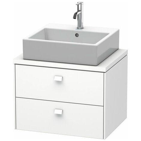 Duravit Brioso, meuble sous-vasque pour console compact 62,0 x 48,0 cm, 2 tiroirs, avec découpe pour siphon et tablier, Couleur (avant/corps): Décor cerisier du Tessin, manche chromé - BR510501073