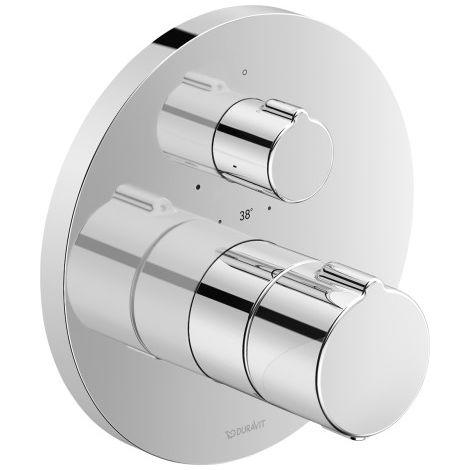 Duravit C.1 Termostato de ducha empotrado, roseta redonda, 1 consumidor, válvula de cierre - C14200016010