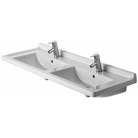 Duravit doble lavabo de muebles Starck 3, 130cm, con rebosadero, color: Blanco - 0332130000