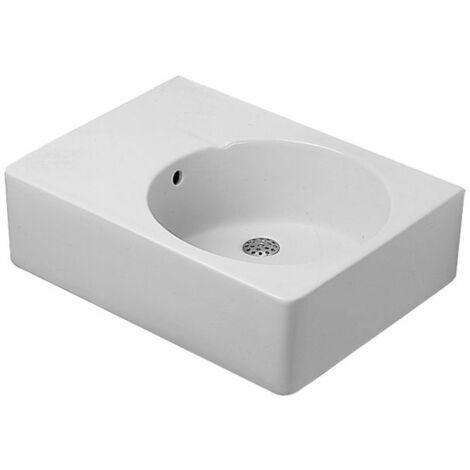 Duravit Evier universel Scola 615mm avec trop-plein, trou de robinet pré-percé à droite, Coloris: Blanc avec Wondergliss - 06856000001
