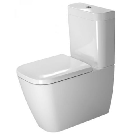 Duravit Freestanding WC Combi Happy D.2 Arandela de 63 cm de profundidad, para cisterna de superficie, salida Vario, color: Blanco con Wondergliss - 21340900001