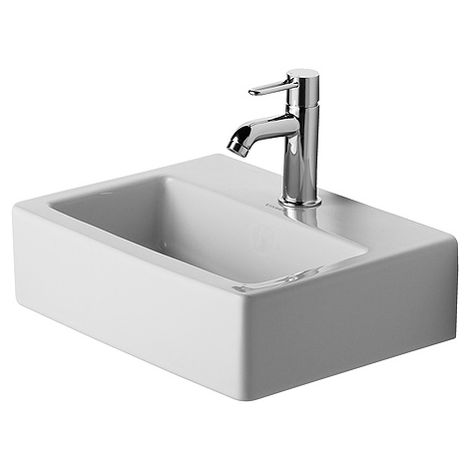 Duravit hand basin Med Vero 45cm, without overflow, with tap hole bench, 1 tap hole, white