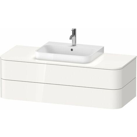 Duravit Happy D.2 Plus Meuble sous-lavabo pour console murale, 1300x550 mm, 2 tiroirs, pour lave-mains, Couleur (avant/corps): Décor blanc brillant - HP496202222