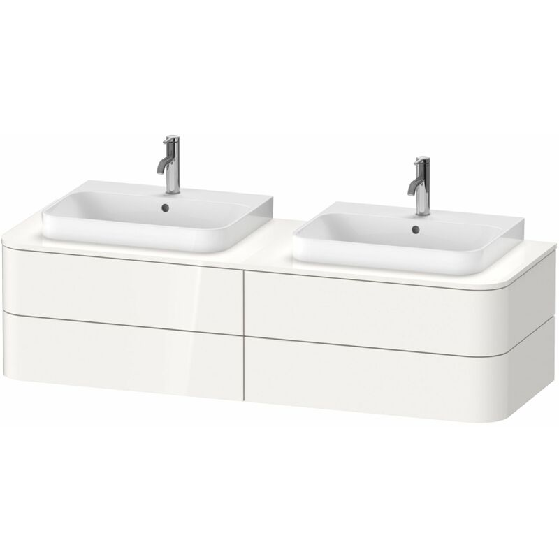 Duravit Happy D.2 Plus Mueble para consola de pared, 1600x550 mm, 4 cajones, para 2 lavabos de sobremesa, Color frente/cuerpo: Seda topo laca mate