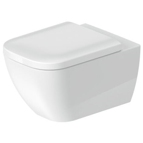 Duravit Happy D.2 WC mural 54cm, sans rebord, avec fixation cachée (Durafix), Coloris: Couleur intérieure blanche, couleur extérieure blanche, avec Wondergliss - 22220900001