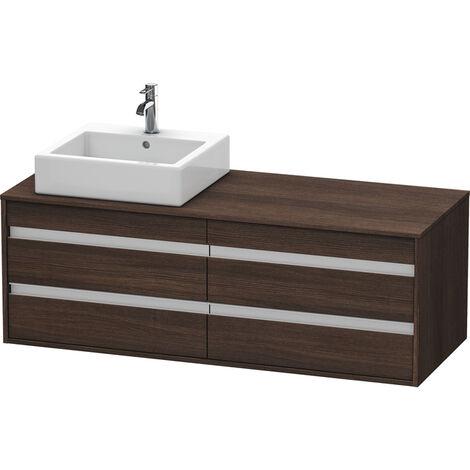 Duravit Ketho Meuble sous-lavabo suspendu 6657, 4 tiroirs, 1400mm, pour 1 vasque supérieure, gauche, Couleur (avant/corps): Décor graphite mat - KT6657L4949