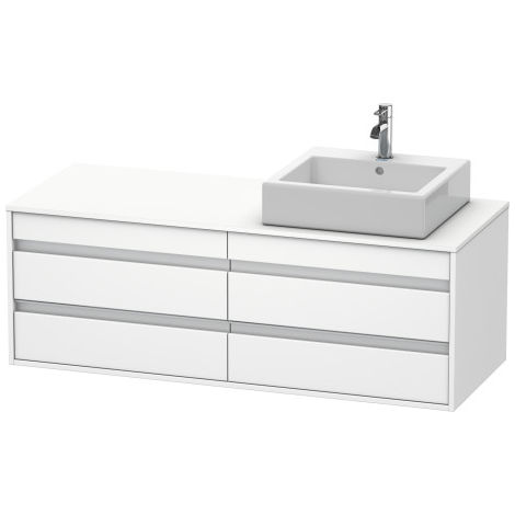 Duravit Ketho vanity unit wall hung 6657, 4 drawers, 1400mm, for 1 top basin, right
