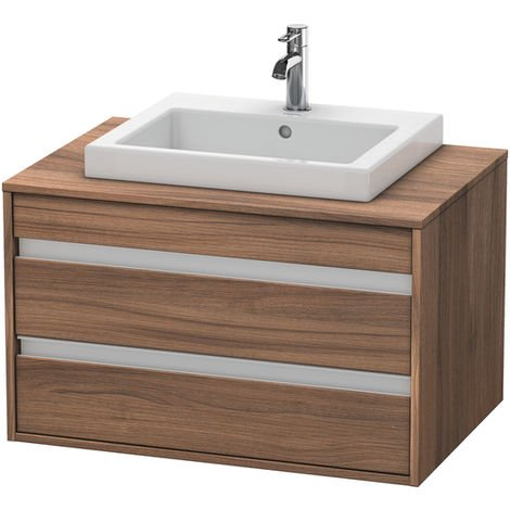 Duravit Ketho vanity unit wall hung 6754, 2 drawers, 800mm, for built-in washbasin in the middle