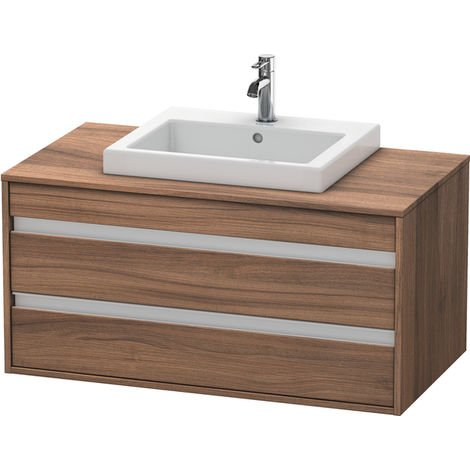 Duravit Ketho vanity unit wall hung 6755, 2 drawers, 1000mm, for built-in washbasin in the middle