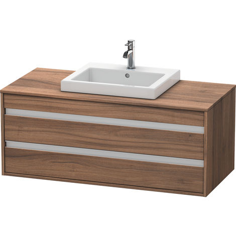 Duravit Ketho vanity unit wall hung 6756, 2 drawers, 1200mm, for built-in washbasin in the middle