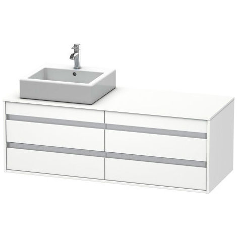 Duravit Ketho vanity unit wall hung 6757, 4 drawers, 1400mm, for 1 built-in washbasin, left