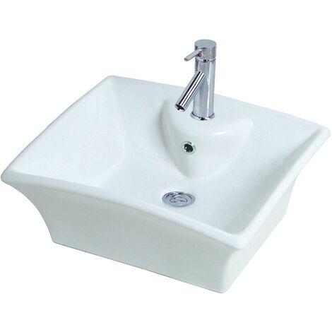 Duravit Lave-mains Happy D.2 80cm avec trop-plein, avec table de robinetterie, 1 trou de robinet, Coloris: Blanc - 2316800000