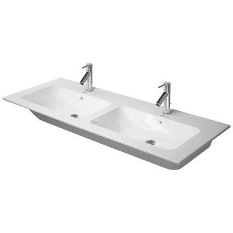Duravit ME by Starck Furniture lavabo doble, sin agujero para grifo, rebosadero, con banco para grifo, 1300 mm, color: Seda blanca mate - 2336133260