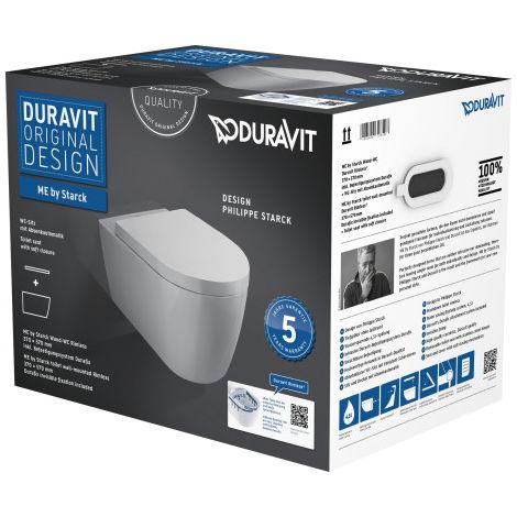 Duravit ME by Starck WC Duravit Rimless® Set para montaje en pared, color: Blanco con Wondergliss - 45290900A11