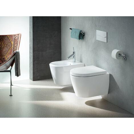 Duravit ME de Starck WC de pared, sin borde, lavable, Durafix incluido, 370 x 480mm, Compacto, color: Color interior blanco, color exterior blanco, con HygieneGlaze - 2530092000