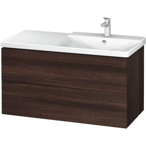 Duravit Meuble sous-lavabo L-Cube pour montage mural largeur 1020mm, profondeur 481, 2 tiroirs, pour P3 Comfort Article 233410, vasque à droite, Coloris: chêne cachemire placage bois véritable - LC625201111