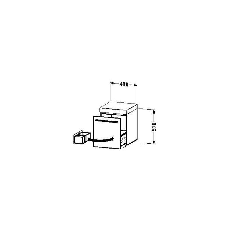 Rollcontainer x-large 400x400x5 x 10mm 1 Auszug, 1 Polster, weiß hochglanz, XL270402222 - Duravit