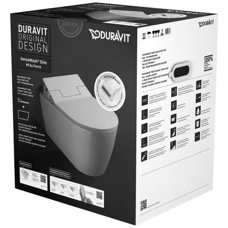 Duravit Set Me by Starck Inodoro de pared sin marco (sin descarga) incl. SensoWash Asiento del inodoro de ducha delgado, blanco - 631000002004300