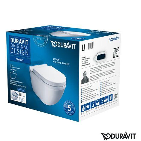 Duravit Starck 3 SET WC de pared sin borde (sin borde a ras) incl. asiento WC con mecanismo de cierre suave, blanco, color: Blanco con Wondergliss - 45270900A11