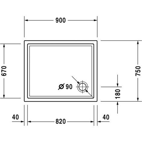 Duravit Starck Slimline rectangular shower tray, 90x75 cm, white - 720117000000000