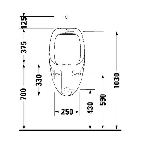 Duravit Urinal Ben, suction inlet from behind, without lid, with bow tie - 0847370007