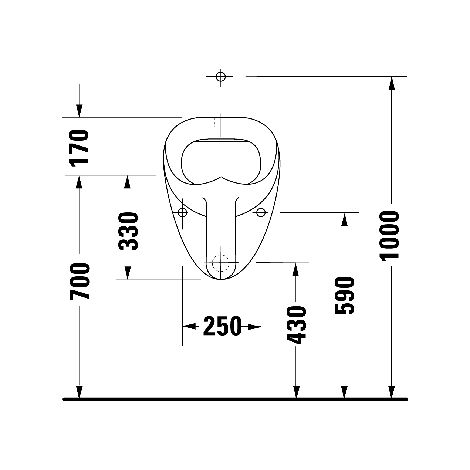 Duravit Urinal Jim, suction inlet from above, without lid, with bow tie - 0850350007