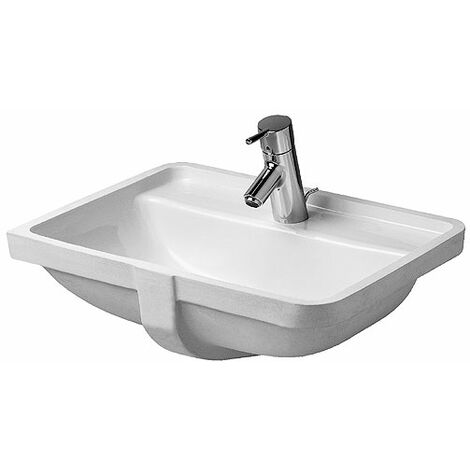 Duravit vasque à encastrer Starck 3 49cm, 1 trou pour robinet, Coloris: Blanc avec Wondergliss - 03024900001