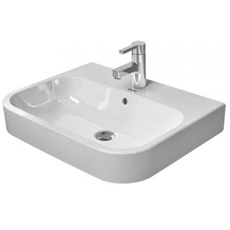 Duravit vasque à poser Happy D.2 60cm avec trop-plein, avec trou de coulée banc, 1 trou de coulée, rectifié, Coloris: Blanc avec Wondergliss - 23156000001