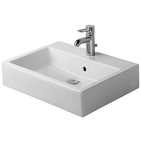 Duravit vasque à poser Vero 60cm, avec trop-plein, avec banquette pour trou de coulée, 3 trous de coulée, Coloris: Blanc avec Wondergliss - 04526000301