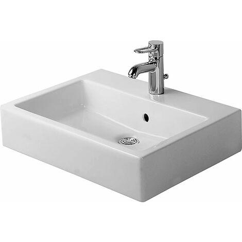Duravit Vero 50cm, blanc, avec trop-plein, avec table à trous de coulée, 1 trou de coulée, Coloris: Blanc avec Wondergliss - 04525000001