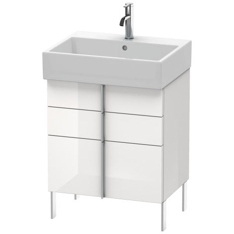 Duravit Vero Air Mueble de pared 58,4 x 43,1 cm, 2 cajones, 1 extraíble, para Vero Air 235060, Color (frente/cuerpo): Laca de color gris franela de alto brillo - VA658508989