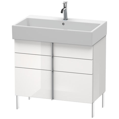 Duravit Vero Air Mueble de pared 78.4 x 43.1cm, 2 cajones, 1 extraíble, para Vero Air 235080, Color (frente/cuerpo): Laca de color gris franela de alto brillo - VA658708989