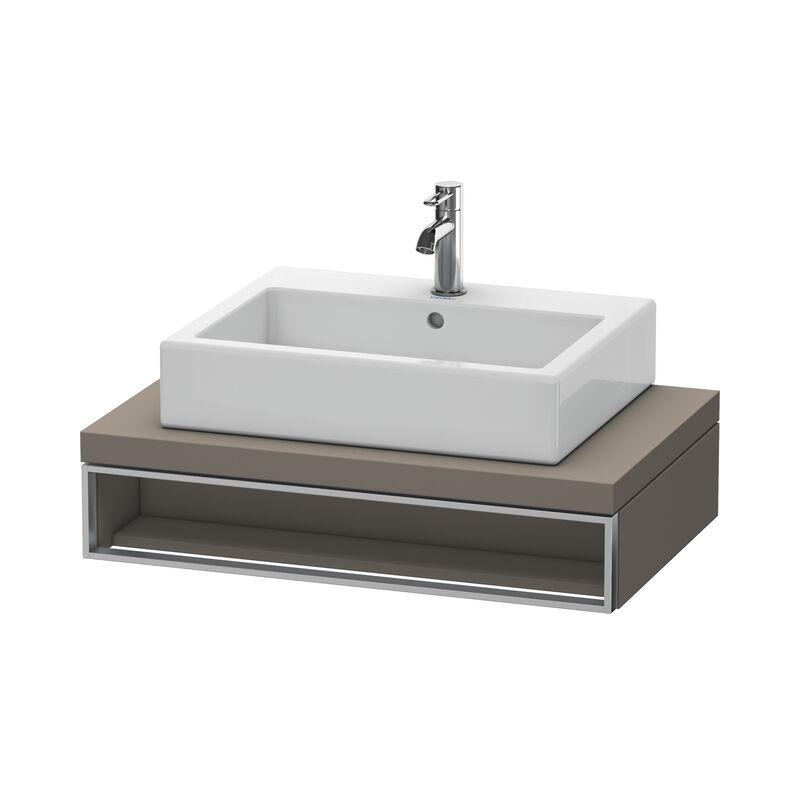 Vero Unidad de lavabo para consola, 6541, 800 mm, 1 compartimento abierto incluyendo toallero, Color frente/cuerpo: Flanela Gris seda lacado mate