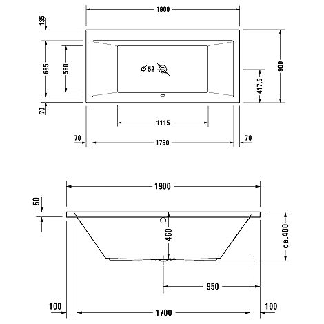 Duravit Whirlpool Vero 1900x900mm recessed version with two backrest inclines, Combisystem E - 760136000CE1000
