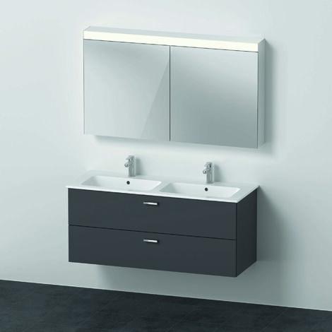 Duravit Xbase, ensemble de meubles muraux, avec miroir LED, lavabo et meuble sous-vasque, largeur 1200 mm, XB00660, Coloris: Décor marron foncé - XB006605353