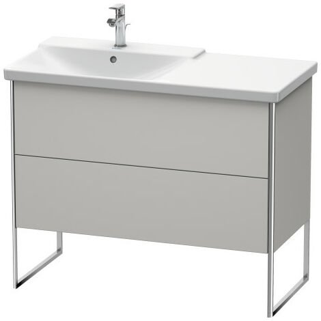 Duravit XSquare Vanity unit vertical, 101.0 x 47.3 cm, 2 drawers, for P3 Comforts 233310, bowl left, Colour (front/body): Dolomiti Grey high gloss lacquer - XS446503838