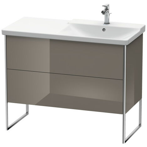 Duravit XSquare Vanity unit vertical, 101.0 x 47.3 cm, 2 drawers, for P3 Comforts 233410, bowl on right, Colour (front/body): White high gloss decor - XS446802222